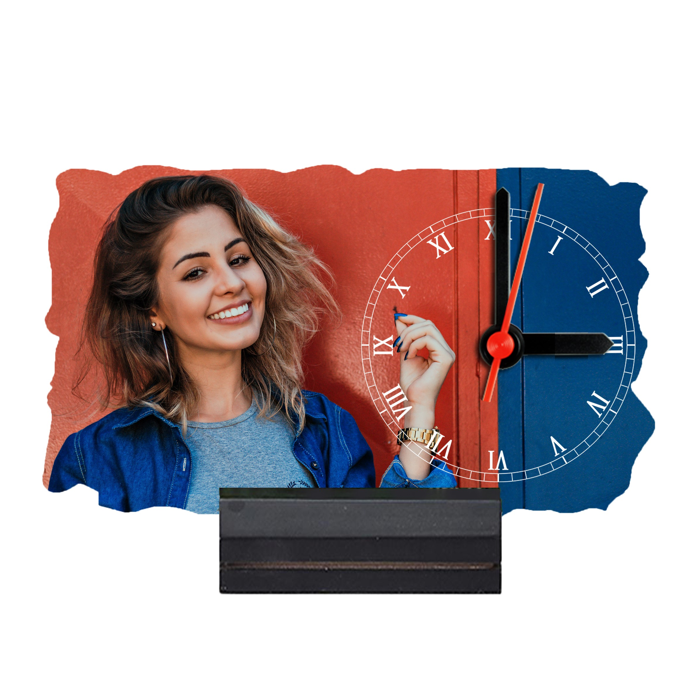 7'' x 4'' Rectangular Shape Personalized Photo Printed Wooden Table Clock (with Wooden Base)