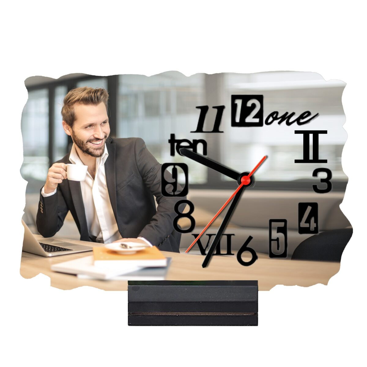 9'' x 6'' Rectangular Shape Personalized Photo Printed Wooden Table Clock (with Wooden Base)