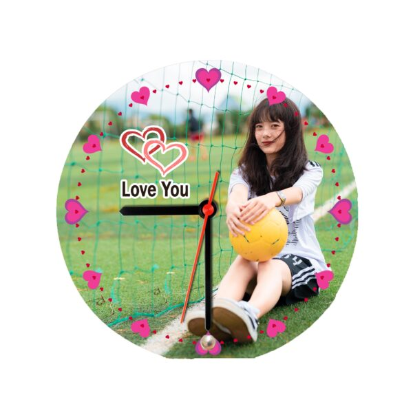 Round Shape Personalized Photo Printed Wooden Table Clock