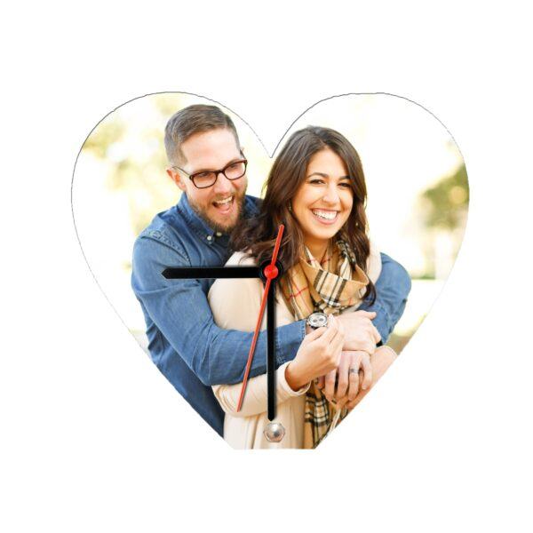 Heart Shape Personalized Photo Printed Wooden Table Clock