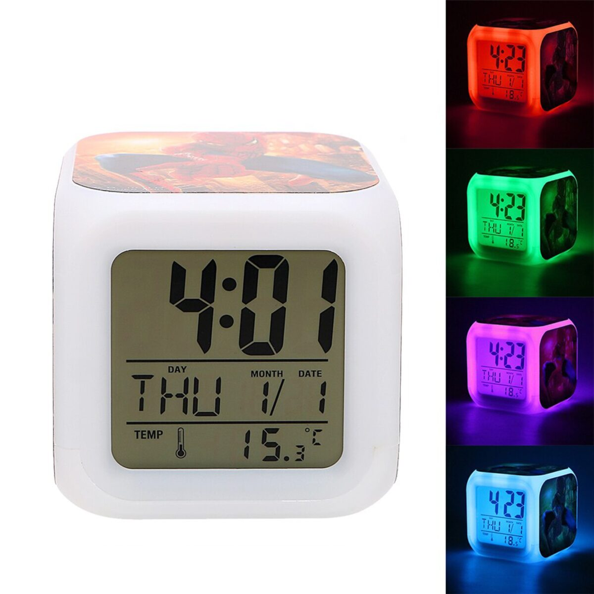 Personalized Photo Printed LED Light Changing Table Alarm Clock (4 sides are printable)