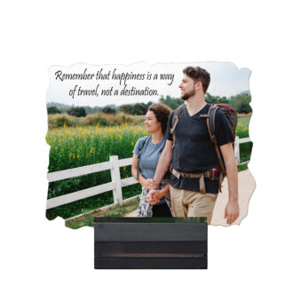 5'' x 4'' Rectangular Shape Personalized Photo Printed Wooden Table Frame (with Wooden Base)