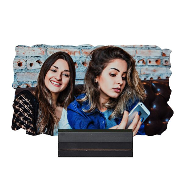 7'' x 4'' Rectangular Shape Personalized Photo Printed Wooden Table Frame (with Wooden Base)