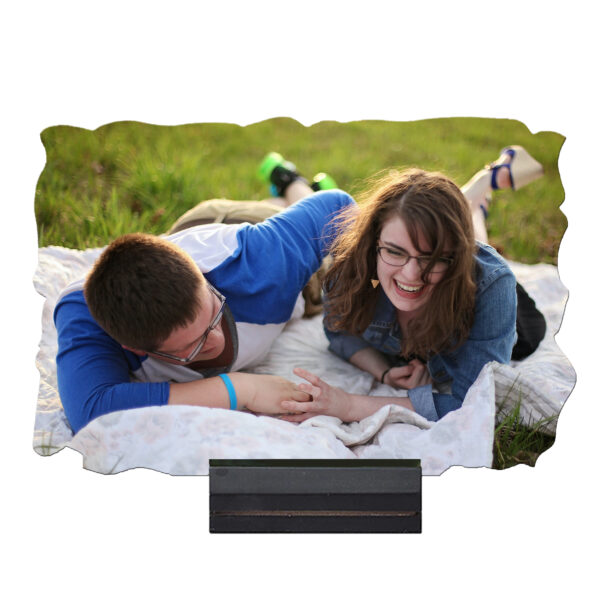 9'' x 6'' Rectangular Shape Personalized Photo Printed Wooden Table Frame (with Wooden Base)