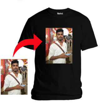 Personalized Photo Printed Premium Cotton Half Sleeve Black Tshirt