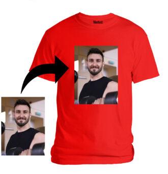 Personalized Photo Printed Premium Cotton Half Sleeve Red Tshirt