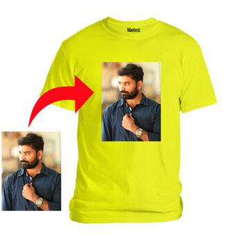 Personalized Photo Printed Premium Cotton Half Sleeve Yellow Tshirt