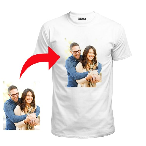 Personalized Photo Printed Polyester Half Sleeve White Tshirt (Shiny)