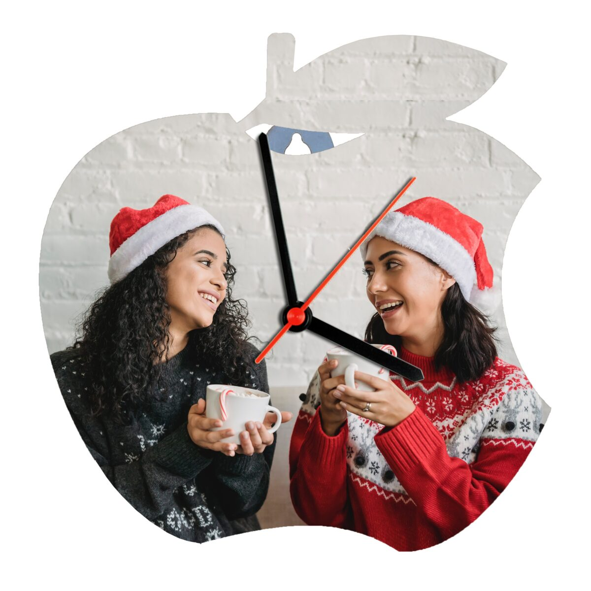 Apple Shape Personalized Photo Printed Wooden Wall Clock