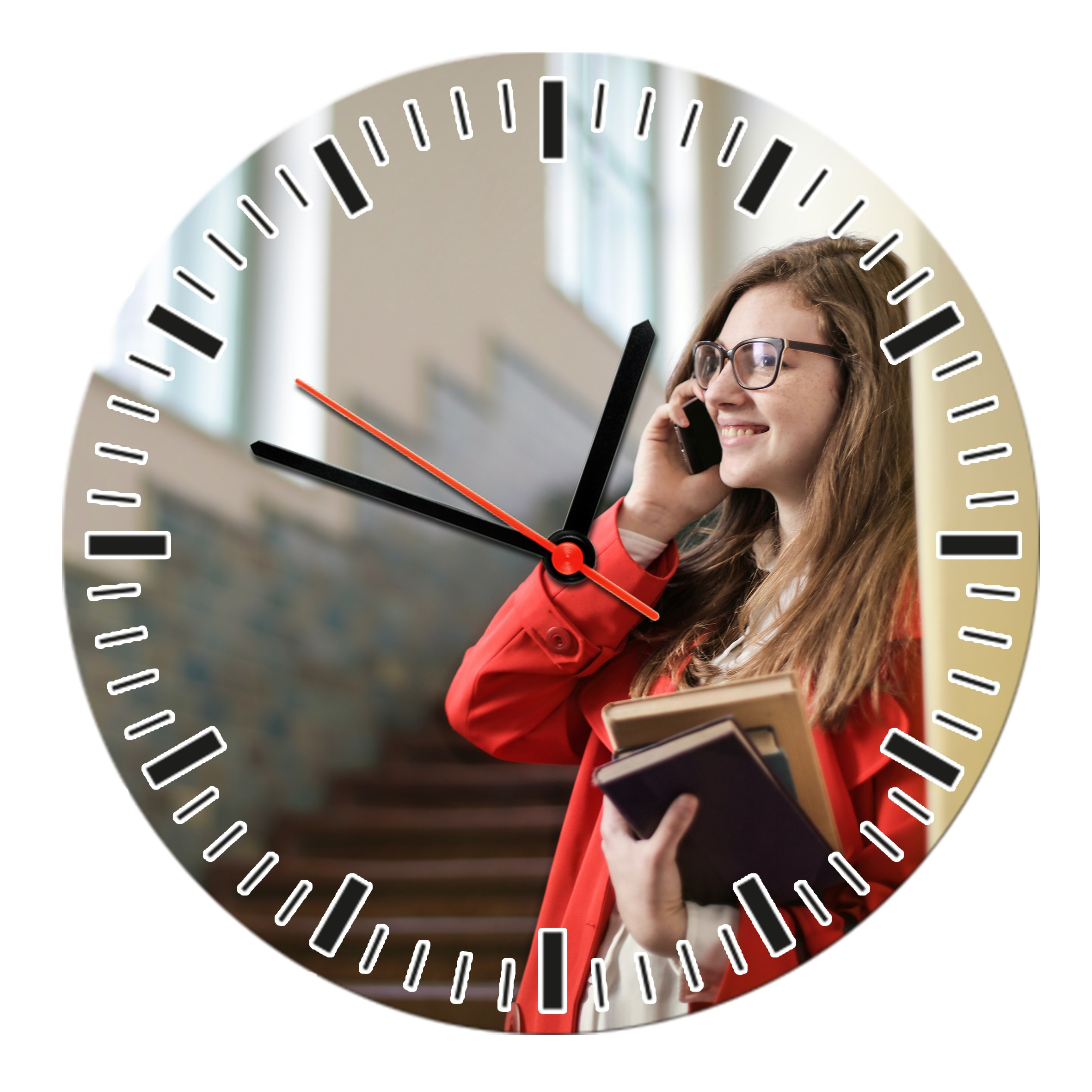 Round Shape Personalized Photo Printed Wooden Wall Clock