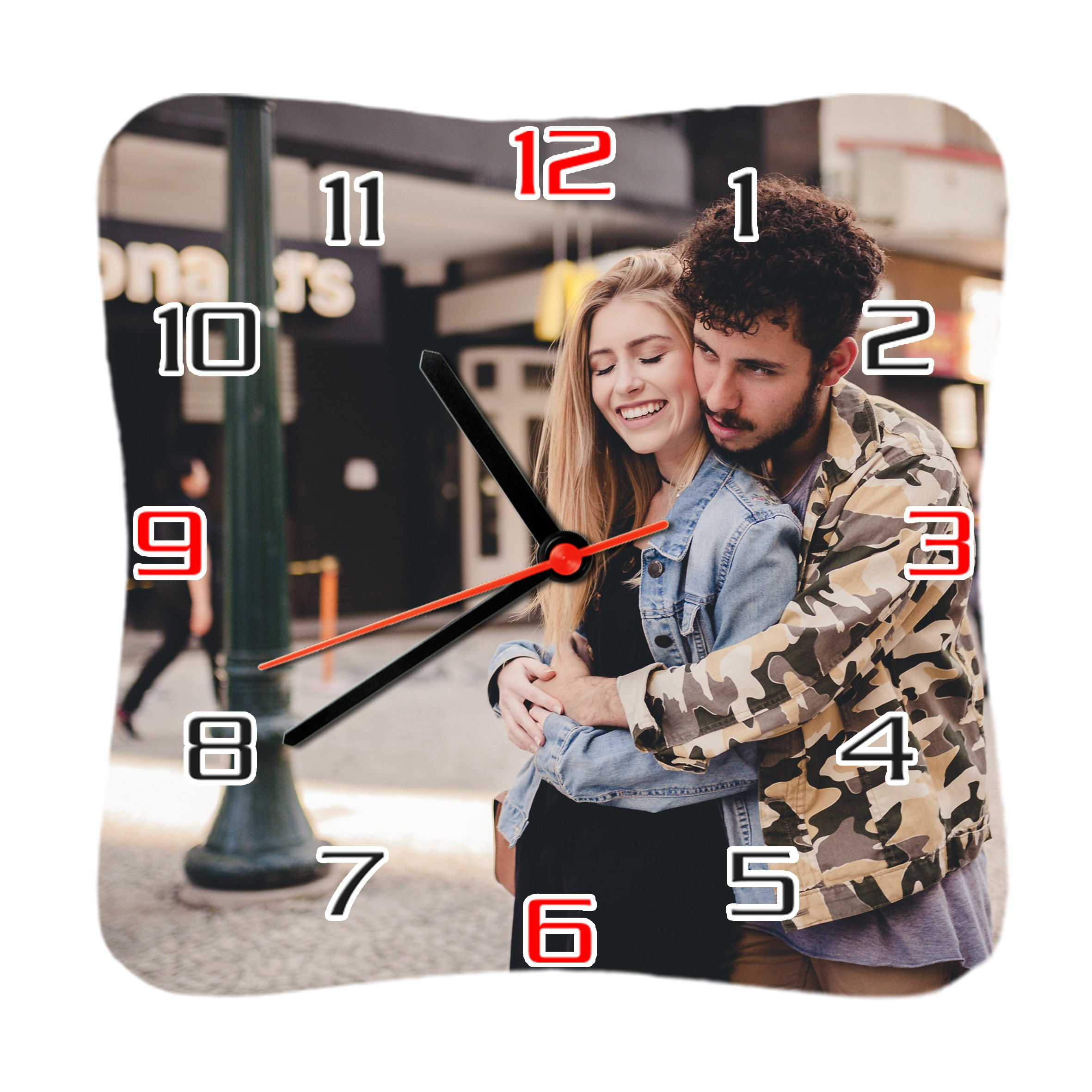 Square Shape Personalized Photo Printed Wooden Wall Clock