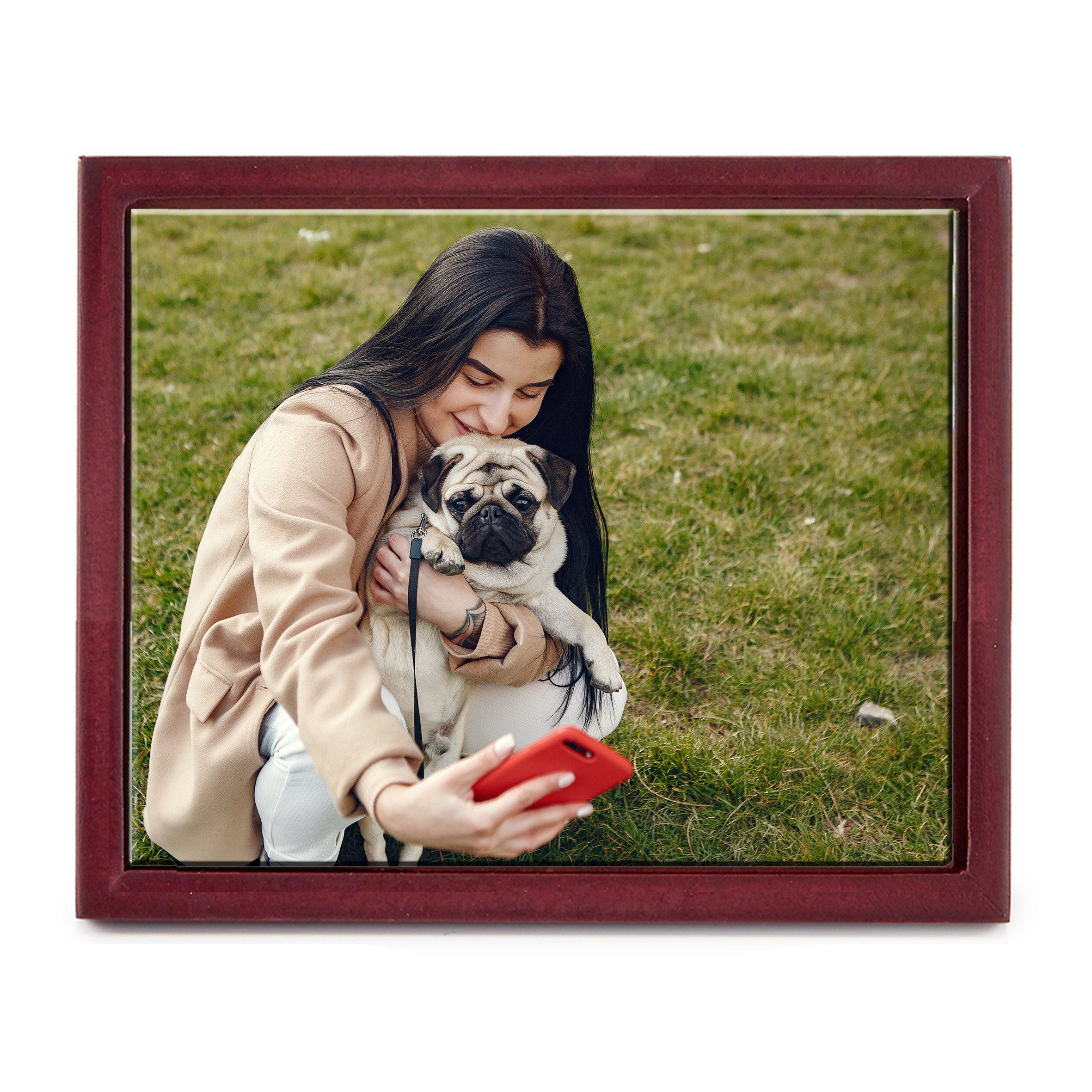 """10"""" x 8"""" Personalized Photo Printed Ceramic Tile (with Wooden Frame)"""
