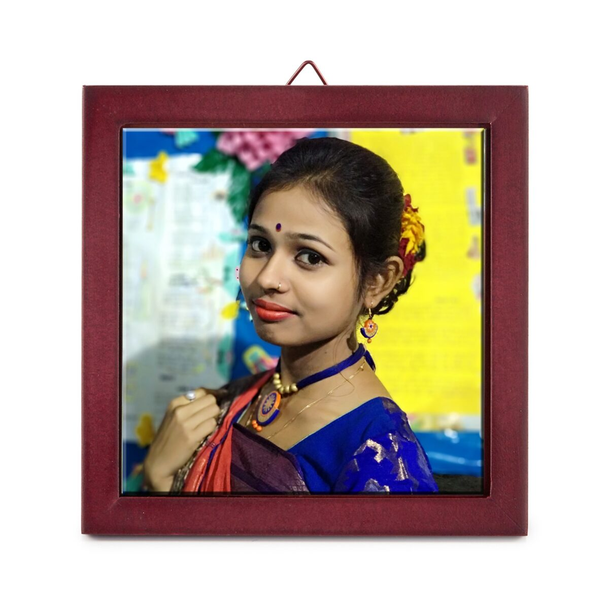 4'' x 4'' Personalized Photo Printed Ceramic Tile (with Wooden Frame)