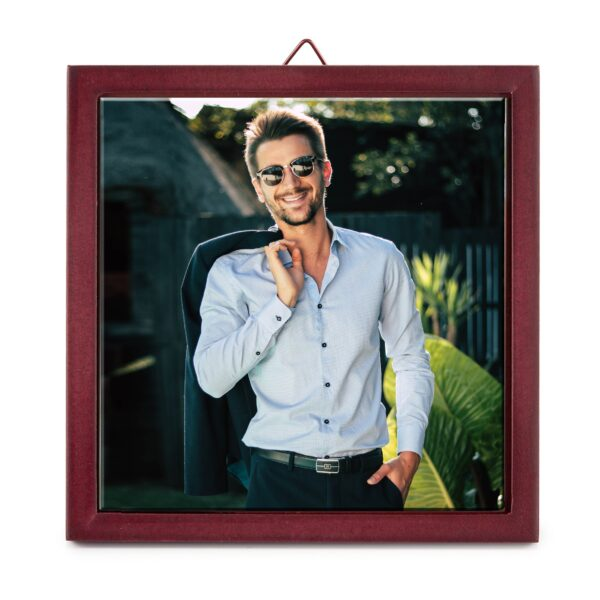 6'' x 6'' Personalized Photo Printed Ceramic Tile (with Wooden Frame)