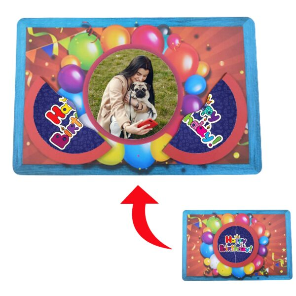 Happy Birthday Designed Personalized Photo Printed Wooden Magnetic Photo Frame