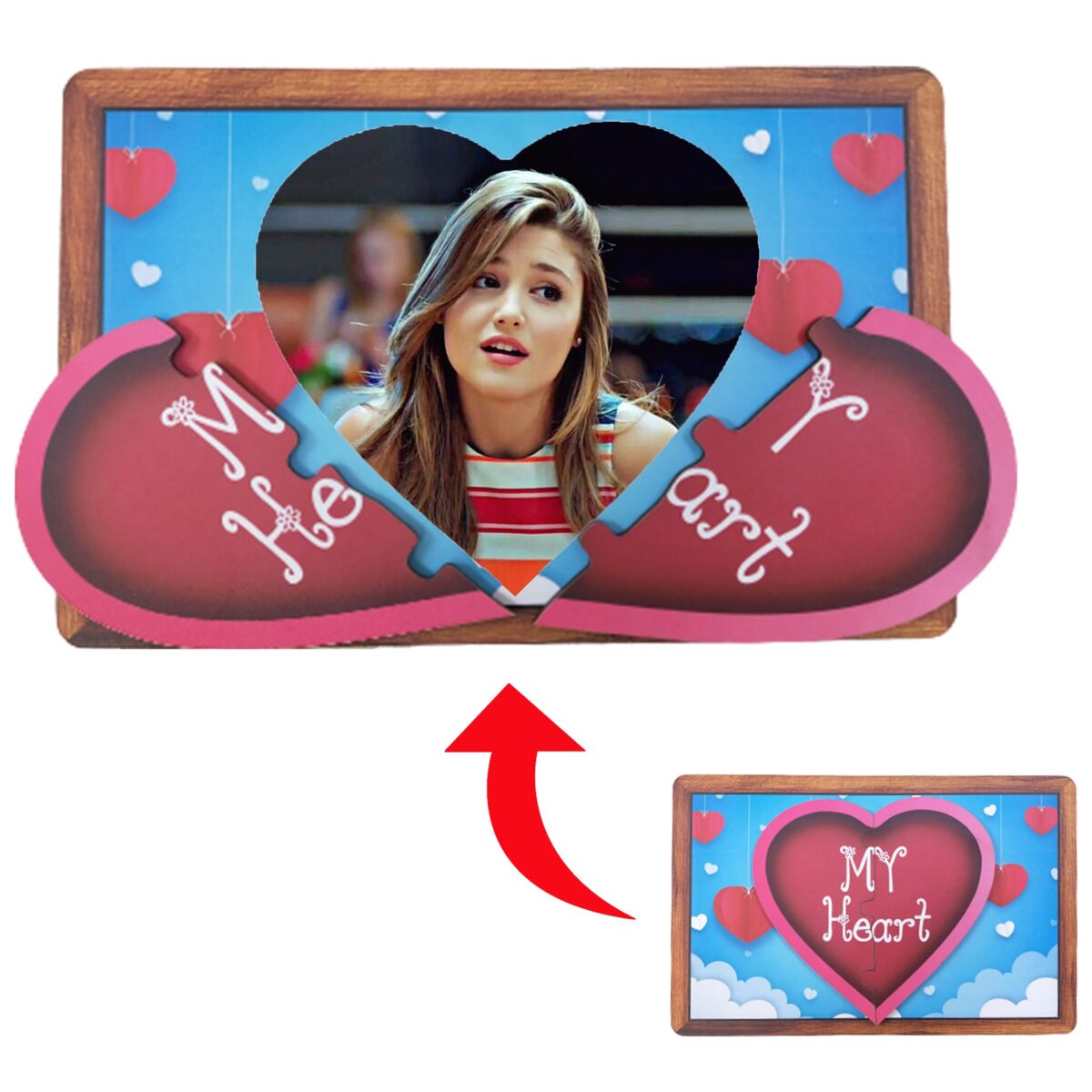 My Heart Designed Personalized Photo Printed Wooden Magnetic Photo Frame