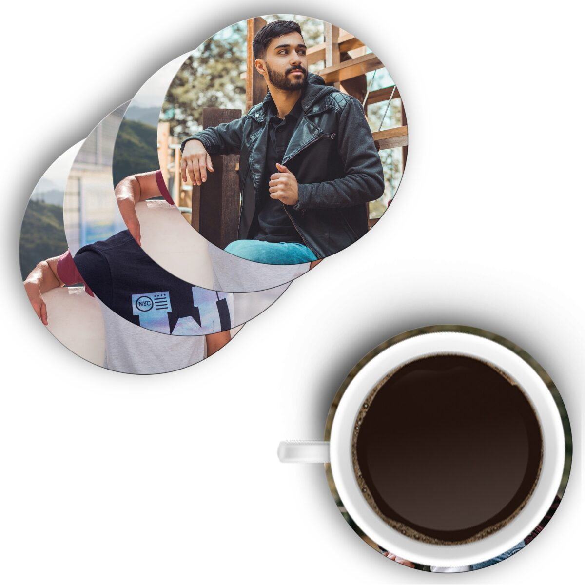 Round Shape Single Sides Shape Both Sides Printable MDF Coaster (Set of 4) (Different Photos Print in Different Coaster)