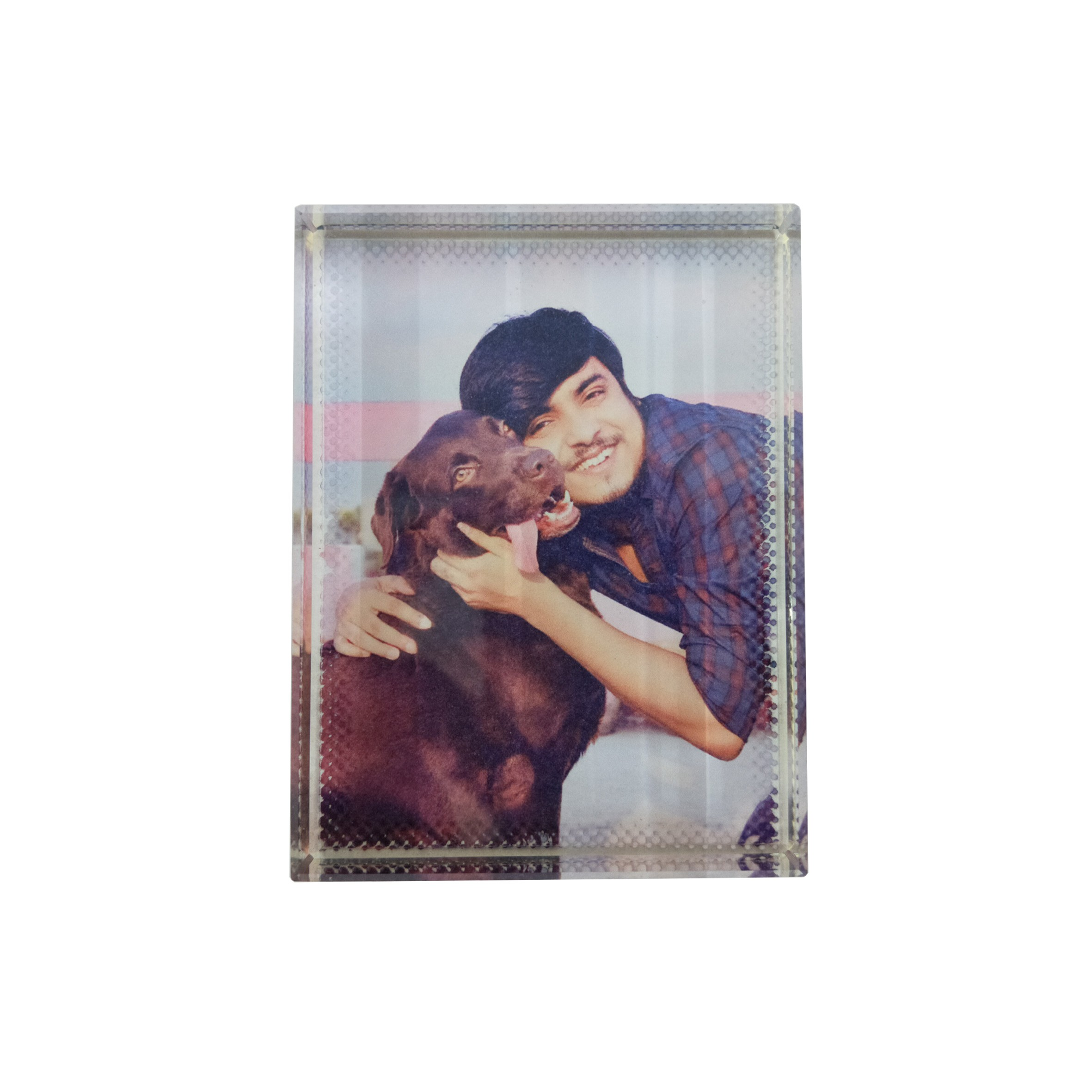 Rectangular Shape Personalized Photo Printed Glass Paper Weight