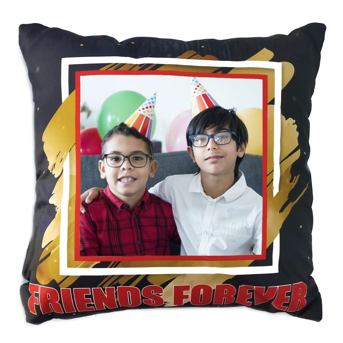 Square Shape Personalized Photo Printed Cushion (Friends Forever Design Pre Printed)