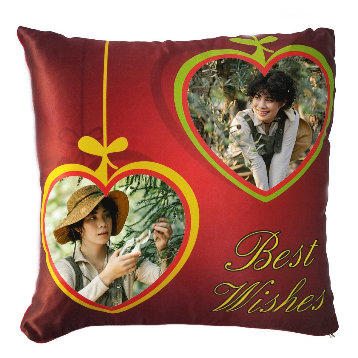 Square Shape Personalized Photo Printed Cushion (Best Wishes with Two Big Heart Design Pre Printed)
