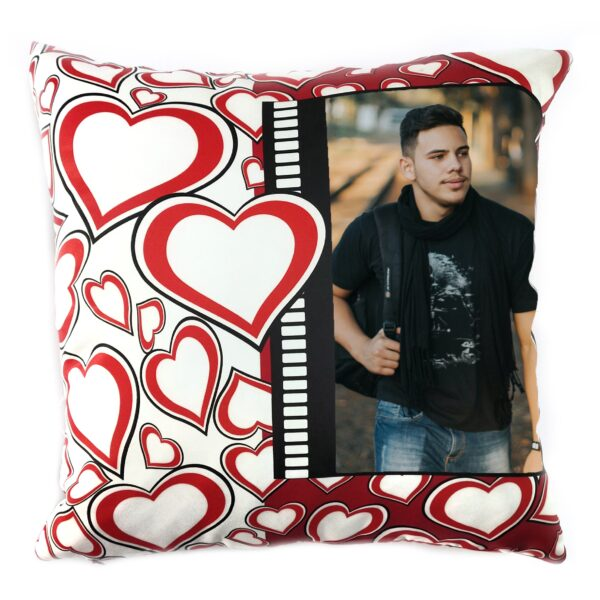 Square Shape Personalized Photo Printed Cushion (Heart Sign Design Pre Printed)
