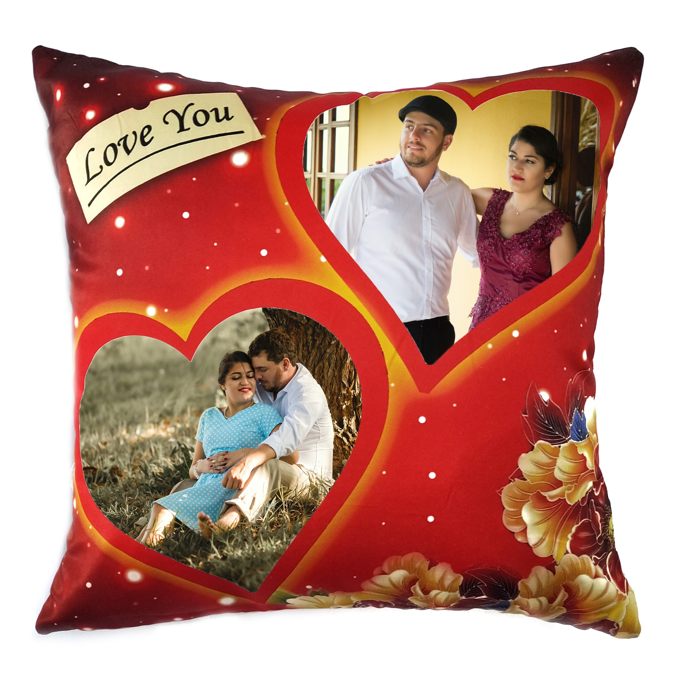Square Shape Personalized Photo Printed Cushion (Love You with Two Big Heart Design Pre Printed)